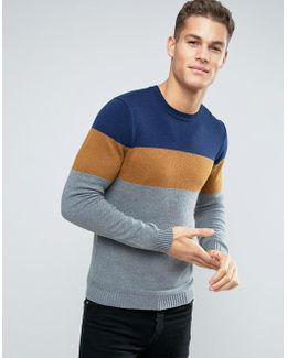 Knitted Sweater With Color Block Stripe