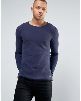 100% Cotton Knitted Sweater With Open Hem