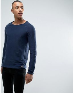 100% Cotton Knitted Sweater With Raglan Sleeve