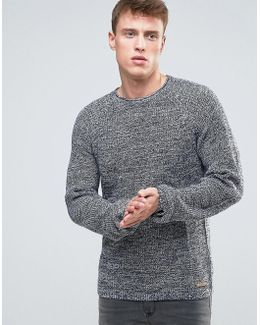 Knitted Sweater In Mixed Yarn Detail And Raglan Sleeve