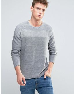 Knitted Sweater With Open Hem And Tonal Block Detail