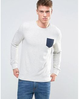Sweatshirt With Contrast Pocket In Marl Jersey