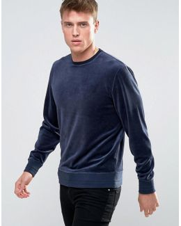 Sweatshirt In Velour Cotton