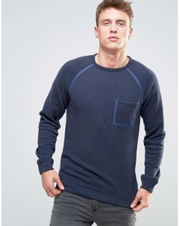 Sweatshirt With Taped Raglan Sleeve And Pocket