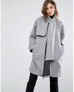 Scarf Cape Coat - Grey
