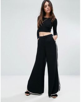 Contrast Piping Wide Leg Pant