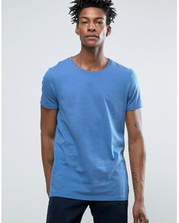 By Hugo Boss Raw Edge T-shirt Regular Fit In Mid Blue