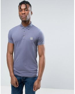 By Hugo Boss Slim Polo Stretch Pique In Blue