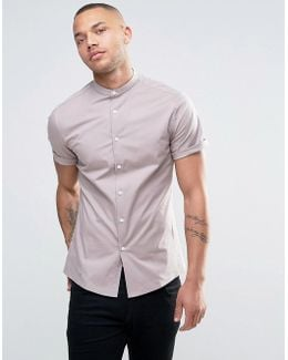 Skinny Shirt With Grandad Collar In Dusty Pink