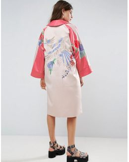 Premium Kimono With Bird And Floral Embroidery