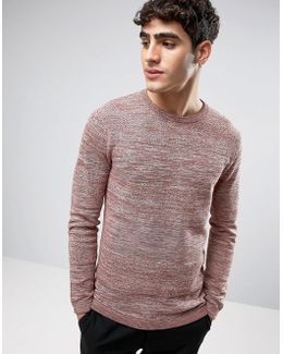 Crew Neck Knitted Sweater In Textured Stripe