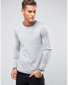 Crew Neck Knitted Sweater With Contrast Raw Hem