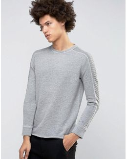 Crew Neck Sweatshirt With Ribbed Arm Detail