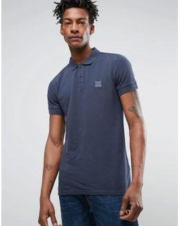 By Hugo Boss Slim Polo Washed Pique In Navy