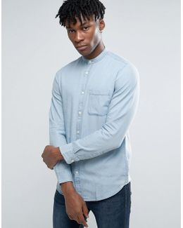 Long Sleeve Slim Fit Shirt With Grandad Collar In Washed Indigo