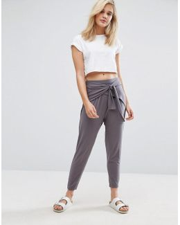 Wrap Front Drop Crotch Harem Pants