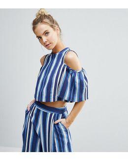 Cold Shoulder Top In Blue Stripe Co-ord