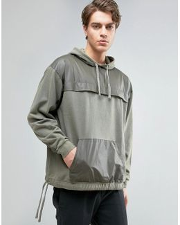 Oversized Hoodie With Contrast Panels In Khaki
