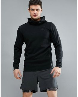Tech Hoodie With Raised Neck Detail