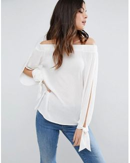 Off Shoulder Top With Split Sleeve & Tie Cuff