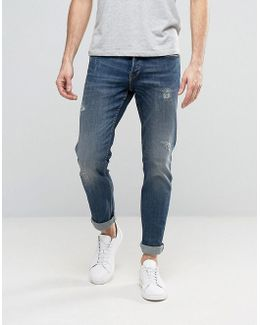 Straight Fit Jeans With Abrasion In Medium Blue Wash