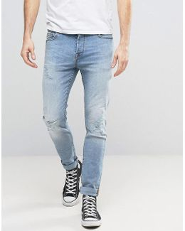 Slim Fit Stretch Jeans With Abrasion In Light Blue Wash