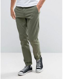 Slim Fit Chinos In Khaki
