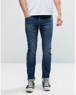 Stretch Slim Fit Jog Jeans In Washed Blue