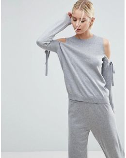 Jumper With Tie Cold Shoulder In Cashmere Mix Co-ord