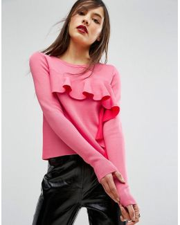 Sweater With Ruffle Front