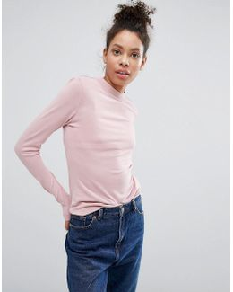 Step Neck Cupro Long Sleeve Top