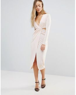 Wrap Front Dress With Cut Out Sides