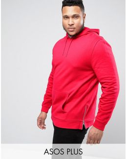 Plus Hoodie With Side Zips In Red