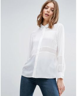 Blouse With Sheer & Solid Panels