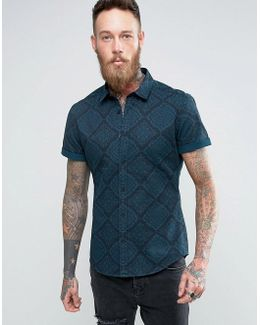 Skinny Denim Shirt With Bandana Print And Overdye