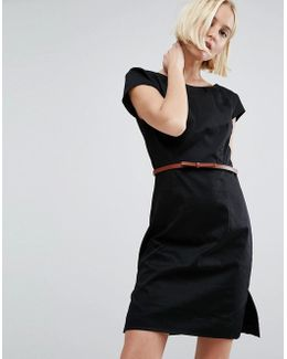 Belted Dress With Capped Sleeves