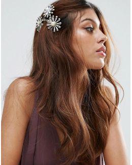 Metal Flower Side Hair Clip