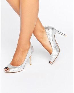 Dinaa Metallic Peep Toe Pumps
