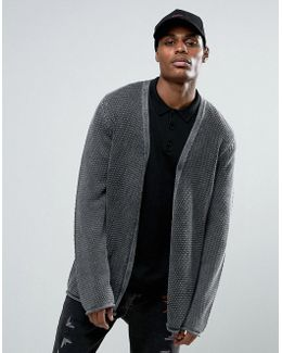 Longline Textured Cardigan In Acid Wash Gray