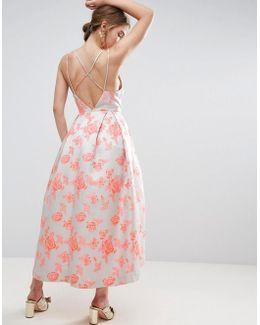 Salon Jacquard Strap Back Midi Prom Dress