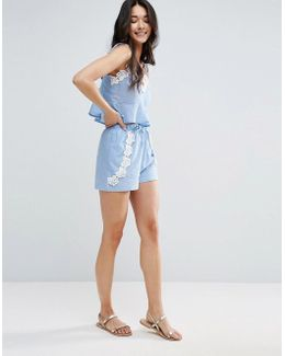 Chambray Pretty Beach Short Co-ord With Crochet Trim