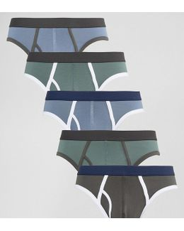 Briefs In Tonal Blue And Green 5 Pack Save