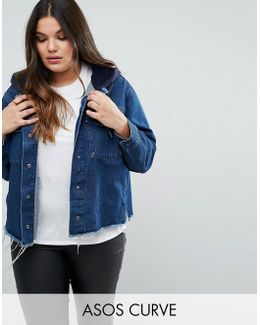 Denim Hooded Jacket With Raw Edges