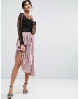 Deconstructed Midi Skirt In Satin