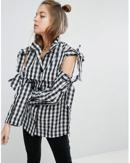 Jacket With Bow Cold Shoulder In Gingham Check