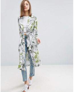 Soft Coat In Tropical Palm Print