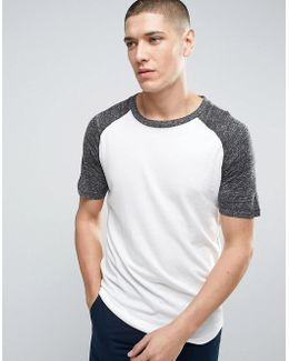 Longline T-shirt With Raglan Sleeve And Curved Hem