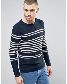 Knitted Sweater In 100% Cotton Bretton Stripe