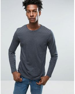 Long Sleeve Striped Top With Seam Panel