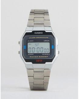A163wa-1qes Digital Bracelet Watch In Silver